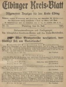 Kreis-Blatt des Königlich Preußischen Landraths-Amtes zu Elbing, Nr. 57 Dienstag 18 Juli 1916