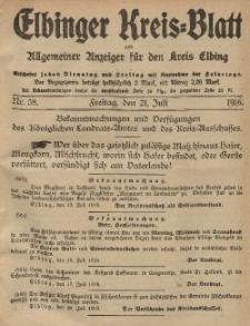 Kreis-Blatt des Königlich Preußischen Landraths-Amtes zu Elbing, Nr. 58 Freitag 21 Juli 1916