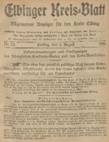 Kreis-Blatt des Königlich Preußischen Landraths-Amtes zu Elbing, Nr. 62 Freitag 4 August 1916