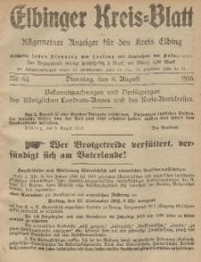 Kreis-Blatt des Königlich Preußischen Landraths-Amtes zu Elbing, Nr. 63 Dienstag 8 August 1916