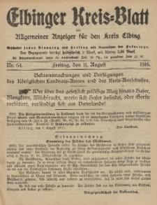 Kreis-Blatt des Königlich Preußischen Landraths-Amtes zu Elbing, Nr. 64 Freitag 11 August 1916
