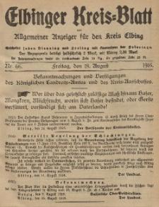 Kreis-Blatt des Königlich Preußischen Landraths-Amtes zu Elbing, Nr. 66 Freitag 18 August 1916