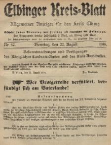 Kreis-Blatt des Königlich Preußischen Landraths-Amtes zu Elbing, Nr. 67 Dienstag 22 August 1916