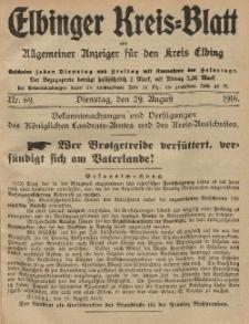 Kreis-Blatt des Königlich Preußischen Landraths-Amtes zu Elbing, Nr. 69 Dienstag 29 August 1916