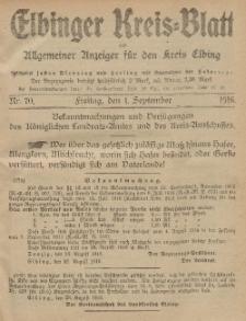 Kreis-Blatt des Königlich Preußischen Landraths-Amtes zu Elbing, Nr. 70 Freitag 1 September 1916