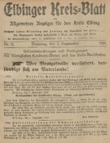Kreis-Blatt des Königlich Preußischen Landraths-Amtes zu Elbing, Nr. 71 Dienstag 5 September 1916