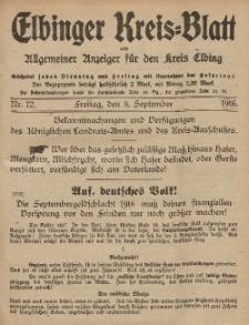 Kreis-Blatt des Königlich Preußischen Landraths-Amtes zu Elbing, Nr. 72 Freitag 8 September 1916
