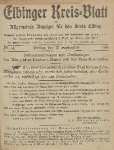 Kreis-Blatt des Königlich Preußischen Landraths-Amtes zu Elbing, Nr. 74 Freitag 15 September 1916
