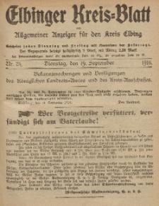 Kreis-Blatt des Königlich Preußischen Landraths-Amtes zu Elbing, Nr. 75 Dienstag 19 September 1916