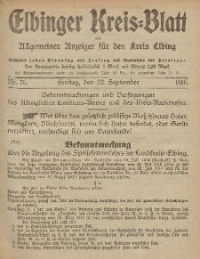 Kreis-Blatt des Königlich Preußischen Landraths-Amtes zu Elbing, Nr. 76 Freitag 22 September 1916