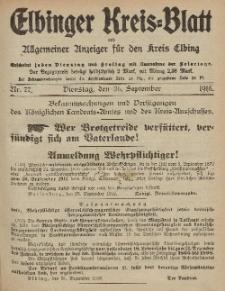 Kreis-Blatt des Königlich Preußischen Landraths-Amtes zu Elbing, Nr. 77 Dienstag 26 September 1916