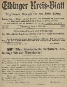 Kreis-Blatt des Königlich Preußischen Landraths-Amtes zu Elbing, Nr. 79 Dienstag 3 Oktober 1916