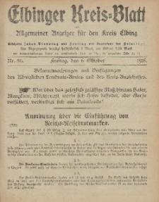 Kreis-Blatt des Königlich Preußischen Landraths-Amtes zu Elbing, Nr. 80 Freitag 6 Oktober 1916