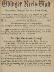 Kreis-Blatt des Königlich Preußischen Landraths-Amtes zu Elbing, Nr. 82 Freitag 13 Oktober 1916