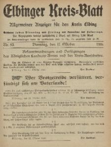 Kreis-Blatt des Königlich Preußischen Landraths-Amtes zu Elbing, Nr. 83 Dienstag 17 Oktober 1916