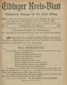 Kreis-Blatt des Königlich Preußischen Landraths-Amtes zu Elbing, Nr. 84 Freitag 20 Oktober 1916
