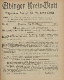 Kreis-Blatt des Königlich Preußischen Landraths-Amtes zu Elbing, Nr. 85 Dienstag 24 Oktober 1916
