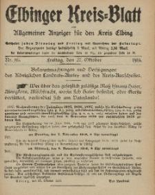 Kreis-Blatt des Königlich Preußischen Landraths-Amtes zu Elbing, Nr. 86 Freitag 27 Oktober 1916