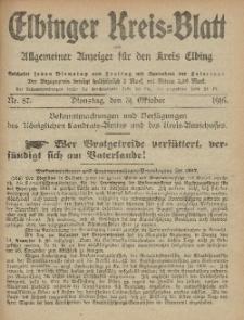 Kreis-Blatt des Königlich Preußischen Landraths-Amtes zu Elbing, Nr. 87 Dienstag 31 Oktober 1916