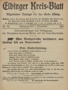 Kreis-Blatt des Königlich Preußischen Landraths-Amtes zu Elbing, Nr. 89 Dienstag 7 November 1916
