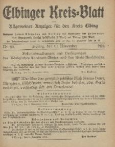 Kreis-Blatt des Königlich Preußischen Landraths-Amtes zu Elbing, Nr. 90 Freitag 10 November 1916