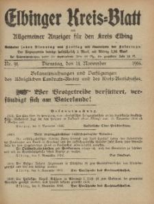 Kreis-Blatt des Königlich Preußischen Landraths-Amtes zu Elbing, Nr. 91 Dienstag 14 November 1916