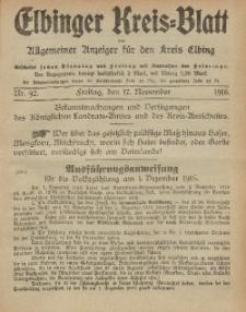 Kreis-Blatt des Königlich Preußischen Landraths-Amtes zu Elbing, Nr. 92 Freitag 17 November 1916