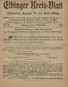 Kreis-Blatt des Königlich Preußischen Landraths-Amtes zu Elbing, Nr. 96 Freitag 1 Dezember 1916