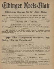 Kreis-Blatt des Königlich Preußischen Landraths-Amtes zu Elbing, Nr. 97 Dienstag 5 Dezember 1916