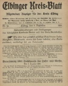Kreis-Blatt des Königlich Preußischen Landraths-Amtes zu Elbing, Nr. 98 Freitag 8 Dezember 1916