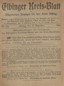 Kreis-Blatt des Königlich Preußischen Landraths-Amtes zu Elbing, Nr. 102 Freitag 22 Dezember 1916
