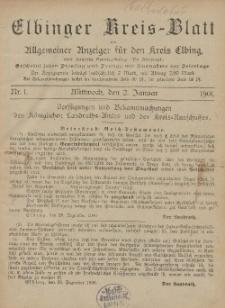 Kreis-Blatt des Königlich Preußischen Landraths-Amtes zu Elbing, Nr. 1 Mittwoch 2 Januar 1901