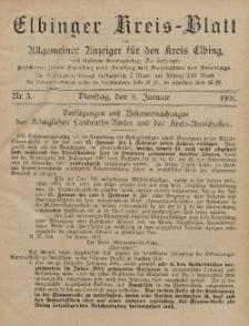 Kreis-Blatt des Königlich Preußischen Landraths-Amtes zu Elbing, Nr. 3 Dienstag 8 Januar 1901