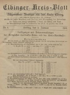 Kreis-Blatt des Königlich Preußischen Landraths-Amtes zu Elbing, Nr. 4 Freitag 11 Januar 1901
