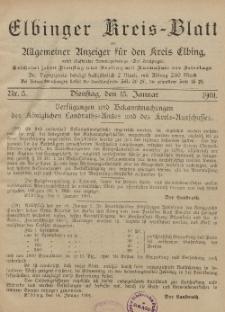 Kreis-Blatt des Königlich Preußischen Landraths-Amtes zu Elbing, Nr. 5 Dienstag 15 Januar 1901