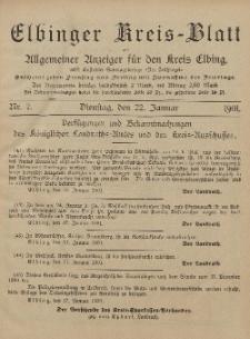 Kreis-Blatt des Königlich Preußischen Landraths-Amtes zu Elbing, Nr. 7 Dienstag 22 Januar 1901