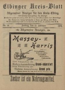 Kreis-Blatt des Königlich Preußischen Landraths-Amtes zu Elbing, Nr. 14 Freitag 14 Februar 1901