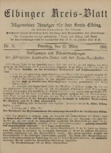 Kreis-Blatt des Königlich Preußischen Landraths-Amtes zu Elbing, Nr. 21 Dienstag 12 März 1901