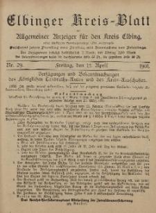 Kreis-Blatt des Königlich Preußischen Landraths-Amtes zu Elbing, Nr. 29 Freitag 12 April 1901
