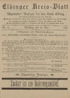 Kreis-Blatt des Königlich Preußischen Landraths-Amtes zu Elbing, Nr. 41 Dienstag 21 Mai 1901