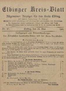Kreis-Blatt des Königlich Preußischen Landraths-Amtes zu Elbing, Nr. 42 Freitag 24 Mai 1901