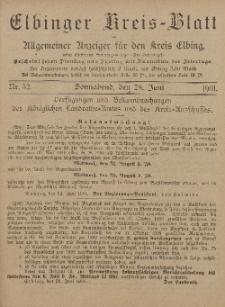 Kreis-Blatt des Königlich Preußischen Landraths-Amtes zu Elbing, Nr. 52 Sonnabend 28 Juni 1901