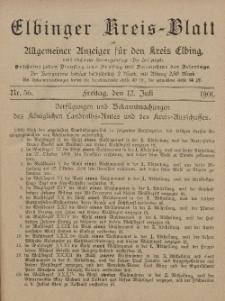 Kreis-Blatt des Königlich Preußischen Landraths-Amtes zu Elbing, Nr. 56 Freitag 12 Juli 1901