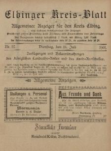 Kreis-Blatt des Königlich Preußischen Landraths-Amtes zu Elbing, Nr. 57 Dienstag 16 Juli 1901