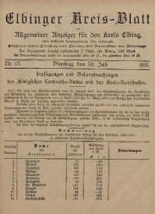 Kreis-Blatt des Königlich Preußischen Landraths-Amtes zu Elbing, Nr. 63 Dienstag 30 Juli 1901
