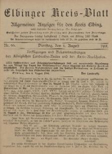Kreis-Blatt des Königlich Preußischen Landraths-Amtes zu Elbing, Nr. 66 Dienstag 6 August 1901