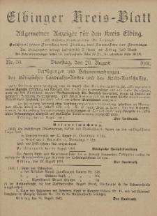 Kreis-Blatt des Königlich Preußischen Landraths-Amtes zu Elbing, Nr. 70 Dienstag 20 August 1901