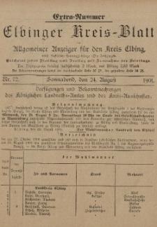 Kreis-Blatt des Königlich Preußischen Landraths-Amtes zu Elbing, Nr. 72 Sonnabend 24 August 1901