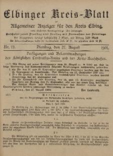 Kreis-Blatt des Königlich Preußischen Landraths-Amtes zu Elbing, Nr. 73 Dienstag 27 August 1901