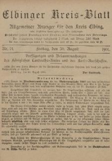Kreis-Blatt des Königlich Preußischen Landraths-Amtes zu Elbing, Nr. 74 Freitag 30 August 1901